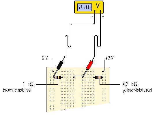 measuring the output of the voltage divider click for next stage