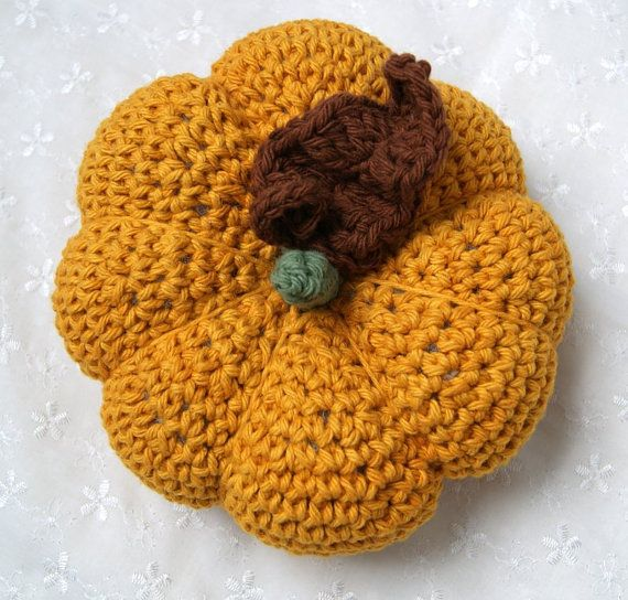 Pumpkin  Crochet  Fall Decoration  Gold  Table by mysticneedle