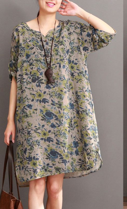 Fine floral cotton dress summer long sundress half sleeve