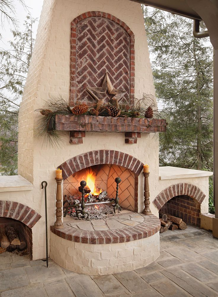 21 best images about brick fireplaces and fire pits on pinterest brick accent walls arches - Houses outdoor fireplace ...