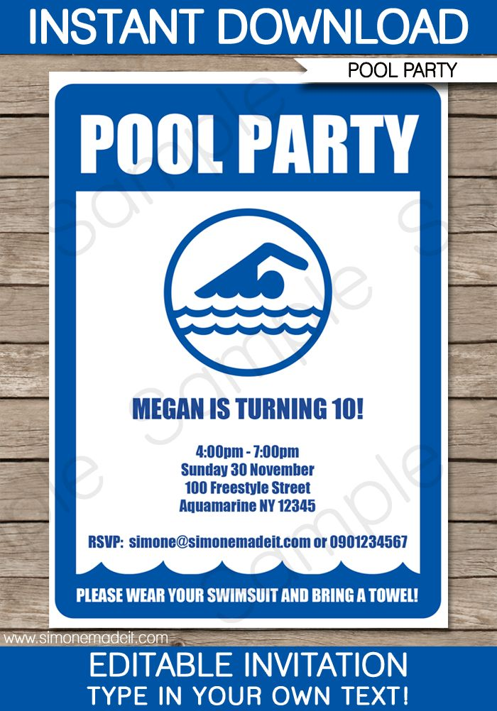 33 best Printable Custom Chalkboard Pool or Summer Party Invitations ...