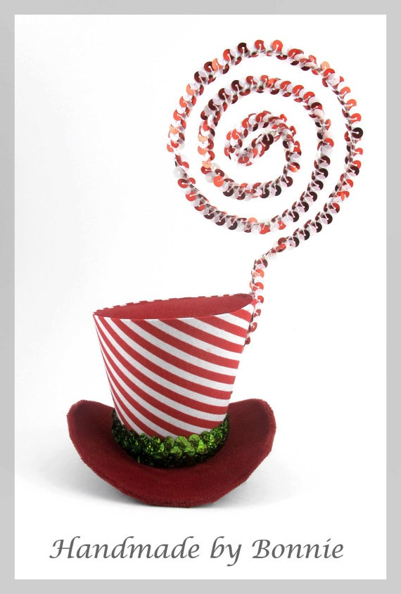 Tiny Top Hat Red Velvet with Green Sparkle by BonnieMadeDesigns, $55.00