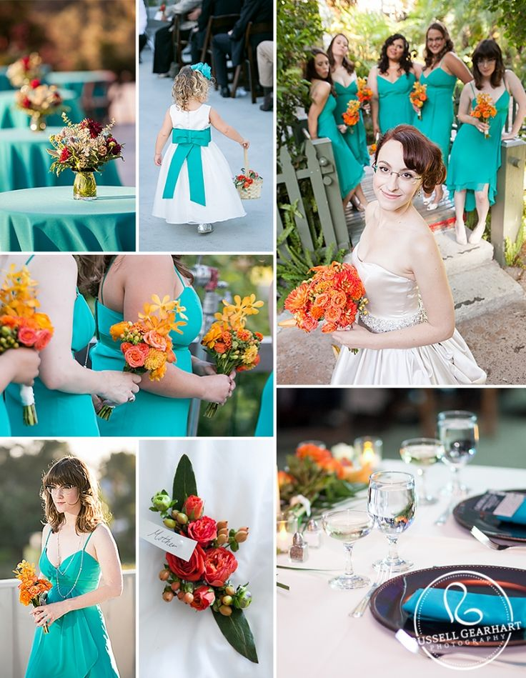 Wedding Inspiration Board: Orange and Teal Wedding Colors - Russell Gearhart Photography - www.gearhartphoto.com | Teal bridesmaid dresses | Teal napkins | Orange wedding flowers |
