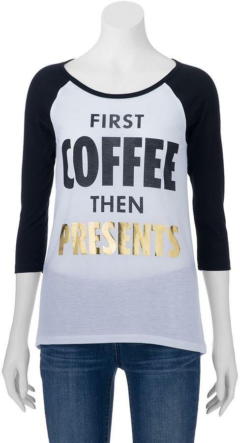 Juniors' Awake Holiday Raglan T-Shirt