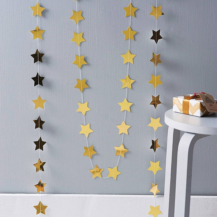 metallic star paper garland by funky frills uk   notonthehighstreet.com