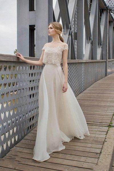 Two Piece Boho Wedding Dresses Lace Appliques Bodice Illusion Neckline Chiffon A…