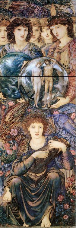The Days of Creation: The Angels of the Sixth and Seventh Days of Creation, holding a globe that shows Adam and Eve, with the Angel of the seventh day at rest in the foreground. Edward Burne-Jones British, 1833 - 1898