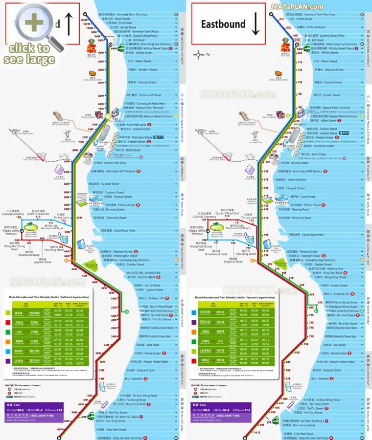 eastbound westbound tramway transit system double decker tram routes tourist information Hong Kong top tourist attractions map