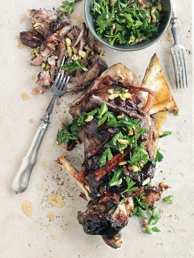 slow-cooked lamb with pistachio honey dressing by Donna Hay