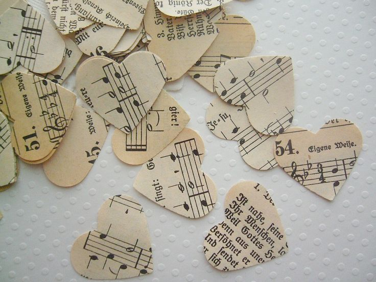 Vintage Wedding - Romantic Vintage Heart Confetti - from a german hymnal