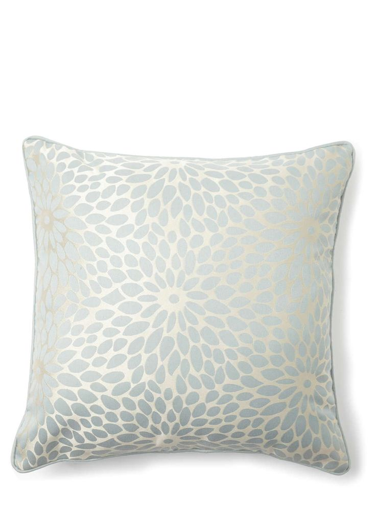 Duck egg blue floral burst cushion
