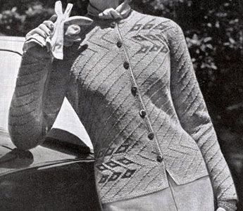 Traveler Cardigan knit pattern from Hand Knit Fashions, originally published by Bernhard Ulmann Co, Volume No. 341, in 1950.