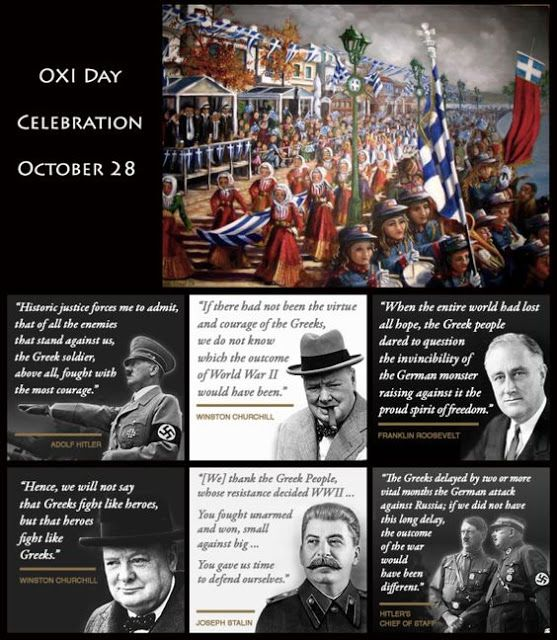 WE THNK TEGREEK PEOPLE FOR THEIR OXI TO MUSSOULONO AND TO HITLER