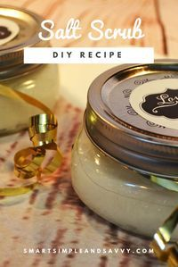 How to make an exfoliating salt body scrub In under ten minutes you can craft a vast quantity of spa-like salt scrub for less than the price of my favorite coffee. Now the formula for success. One cup salt mixed with one cup coconut oil. Then, four drops