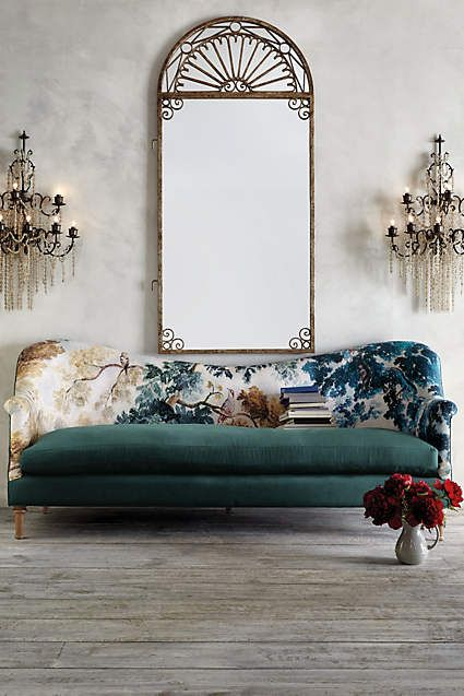 Anthropologie EU Pied-A-Terre Sofa, Judarn. With a gently sloped camelback and stunning tapestry that was dreamed up by our design team, this elegant three-seater is best admired from afar - but with its plush cushions and luxe, cotton-linen upholstery, we reckon you won't be able to keep your distance for very long…
