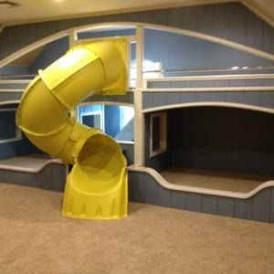 Check out this project on RYOBI Nation - Bonus Room Built In Bunk Beds with 4 areas for play or sleep including a spiral slide chute for descending from the 2nd level.  It is a dreamland for any child.