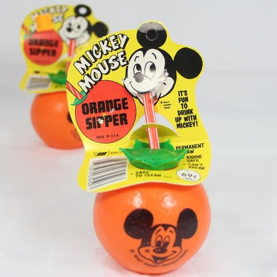 Disney Mickey Mouse orange sipper cup  circa 1980s HOLY SHIT! Loved this and the green orange stem top that the straw went through!!!