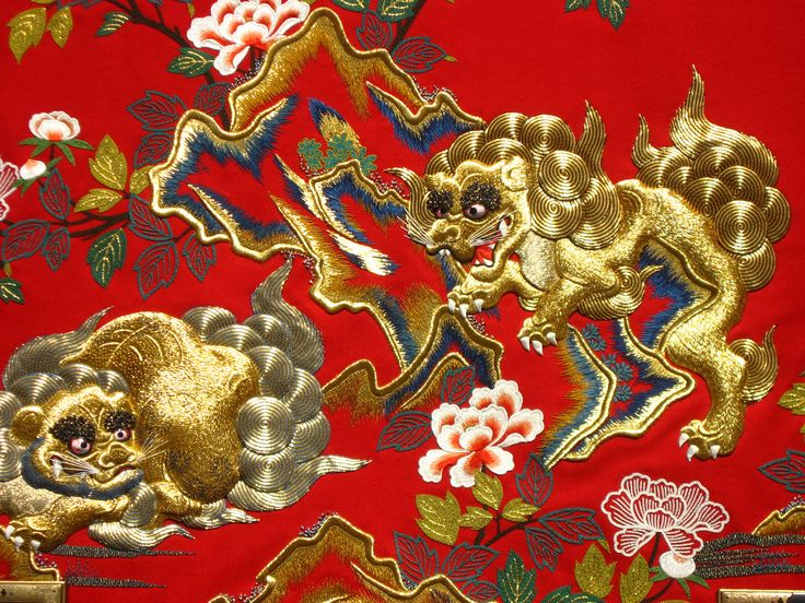 Japanese free embroidery in silk and metal threads, contemporary.