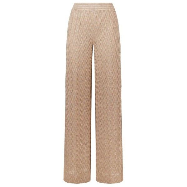 Missoni Chevron Trousers (2.420 BRL) ❤ liked on Polyvore featuring pants, chevron pants, wide-leg pants, patterned pants, elastic waistband pants and striped trousers