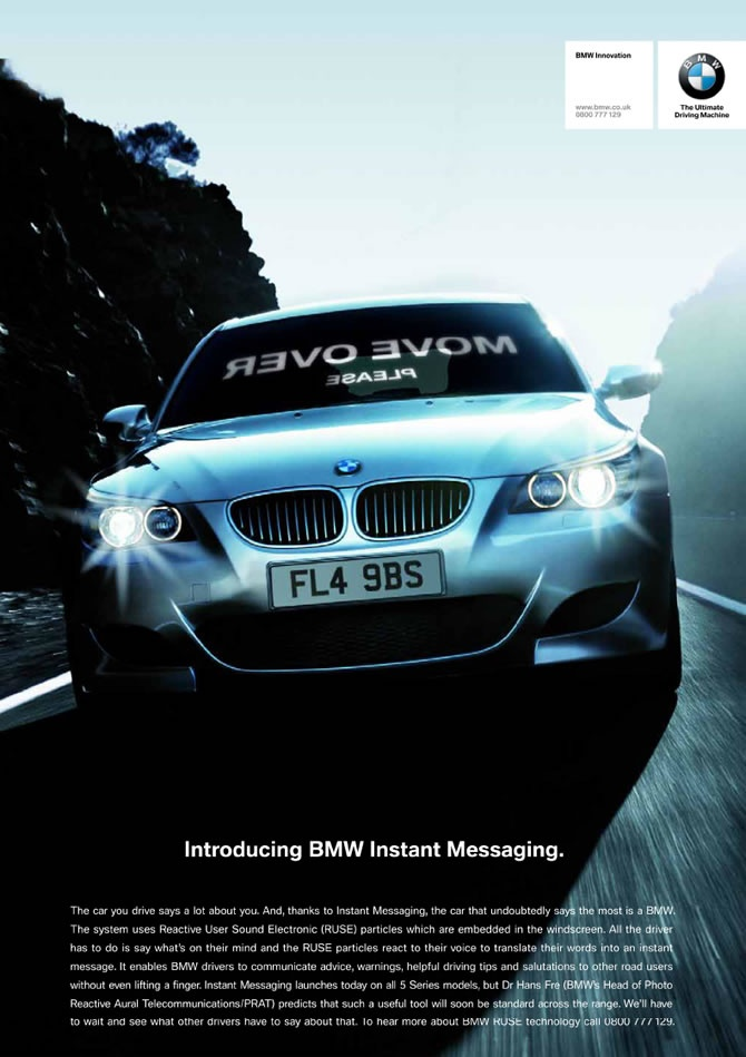 Picture of April Fools day advert - BMW Instant Messaging. We want this one to be true....
