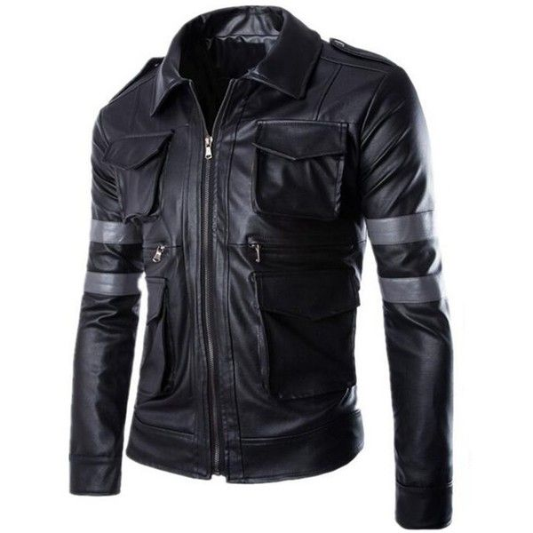 Men's Faux Leather Four Pockets Trucker Jacket (97 BRL) ❤ liked on Polyvore featuring men's fashion, men's clothing, men's outerwear, men's jackets, mens fake leather jacket, mens jackets, mens faux leather jacket and mens trucker jacket