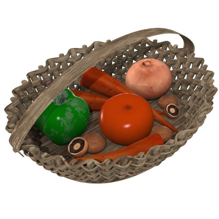 Veggie Basket 3D Model Download | obj - 3D Squirrel