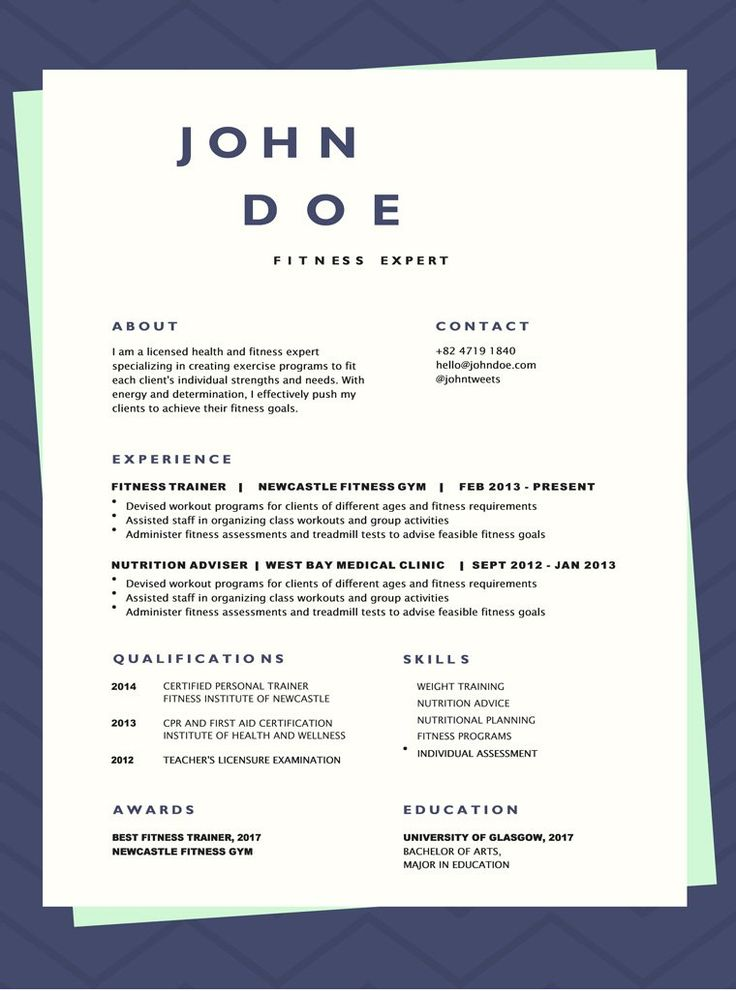 CV Бланка Фитнес Fitness experts, Resume template