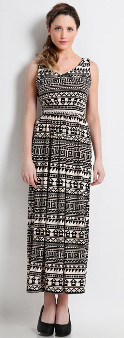 Let's go to the beach with this eclectic maxi dress. The dress has a tribal pattern and sleeveless. BY Yovanco.   http://www.zocko.com/z/JFL8a