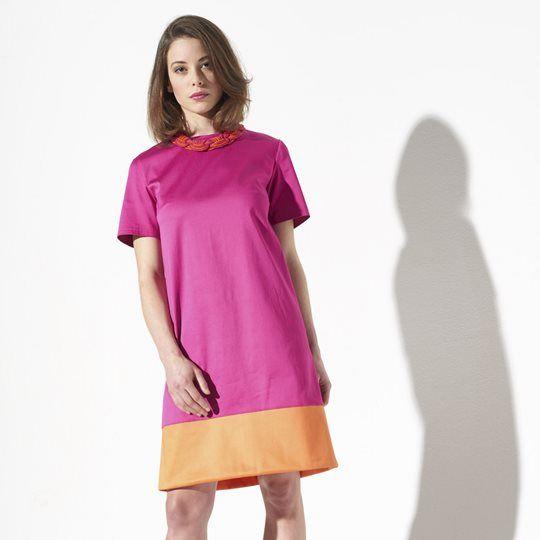 Kleid für Damen ❤ gratis Schnittmuster ❤ mit ausführlicher Anleitung ❤ Gr. 36 - 46 ❤ A-Linie ❤ Color Blocking ❤ ✂ Jetzt Nähtalente.de besuchen ✂