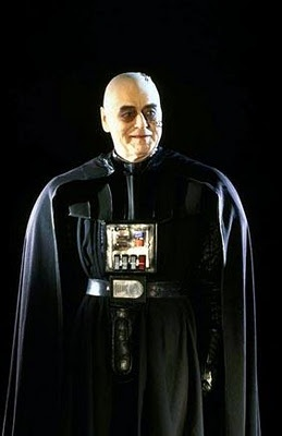 Sebastian Shaw in the Darth Vader costume for his filmed scenes playing the dying Anakin Skywalker