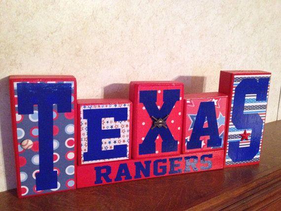 Beautiful Texas Rangers Wooden Block Set on Etsy, $30.00