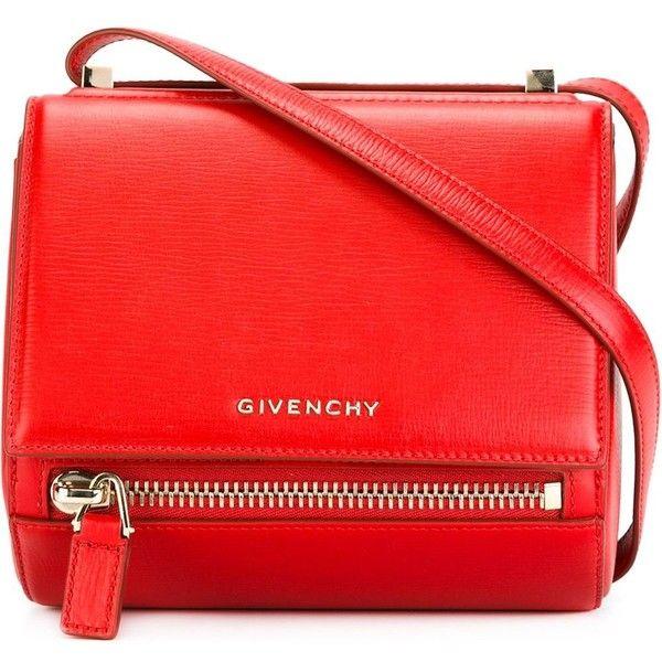 Givenchy mini 'Pandora Box' shoulder bag ($1,440) ❤ liked on Polyvore featuring bags, handbags, shoulder bags, red, red shoulder bag, red purse, givenchy, red handbags and givenchy purse