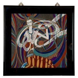 """Decorate your living room, office, or den with this vintage design, showcasing an eye-catching palette and black lacquer frame.   Product: Framed artConstruction Material: EpoxyColor: Black and copperFeatures: """"Girl Playing the Flute""""Dimensions: 32.5"""" H x 33"""" W  Note: Due to the vintage nature of this product, some wear and tear is to be expected. Products may show signs of brand marks, scrapes or other blemishes."""
