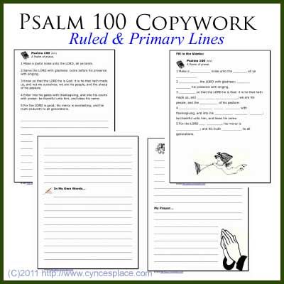 Excellent! I love that there are free things out there like this to use!   Free Psalm 100 copywork