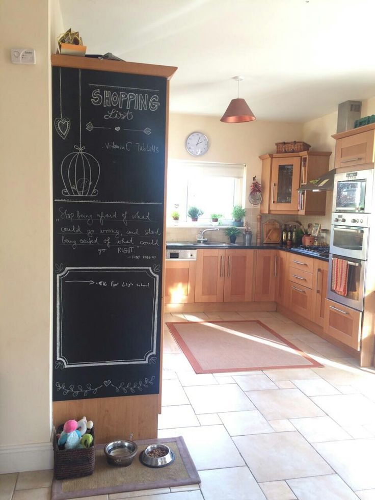 Diy chalk board in our kitchen with daily quotes, notes, and shopping list :-) needed mdf board from diy shop €10 and chalk paint. I attached it with heavy duty Velcro strips...