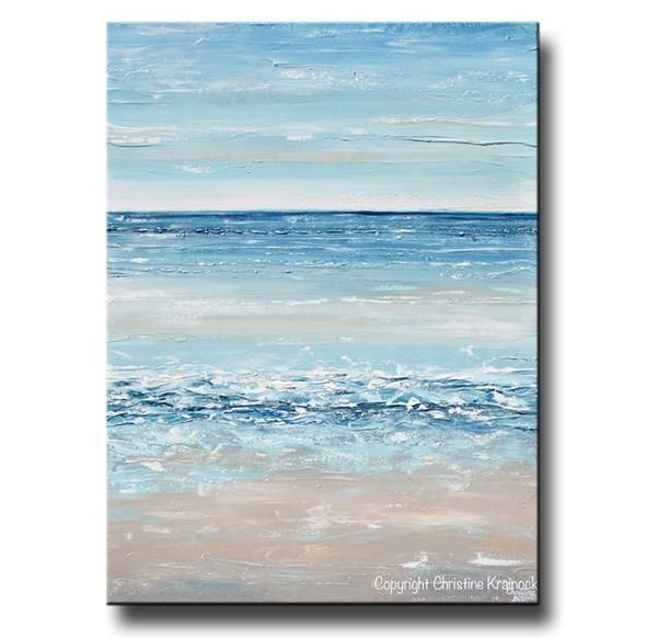 """Life's a Beach"" Original Abstract Painting Blue White Beige Beach Ocean Seascape California coastal home decor modern canvas print wall art vertical navy grey"