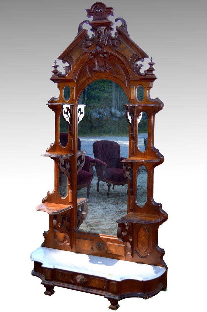 Maine Antique Furniture - 18108 Victorian Civil War Walnut Marble Top  Étagère - 1860s!, - 70 Best Antique Living Room Furniture Images On Pinterest