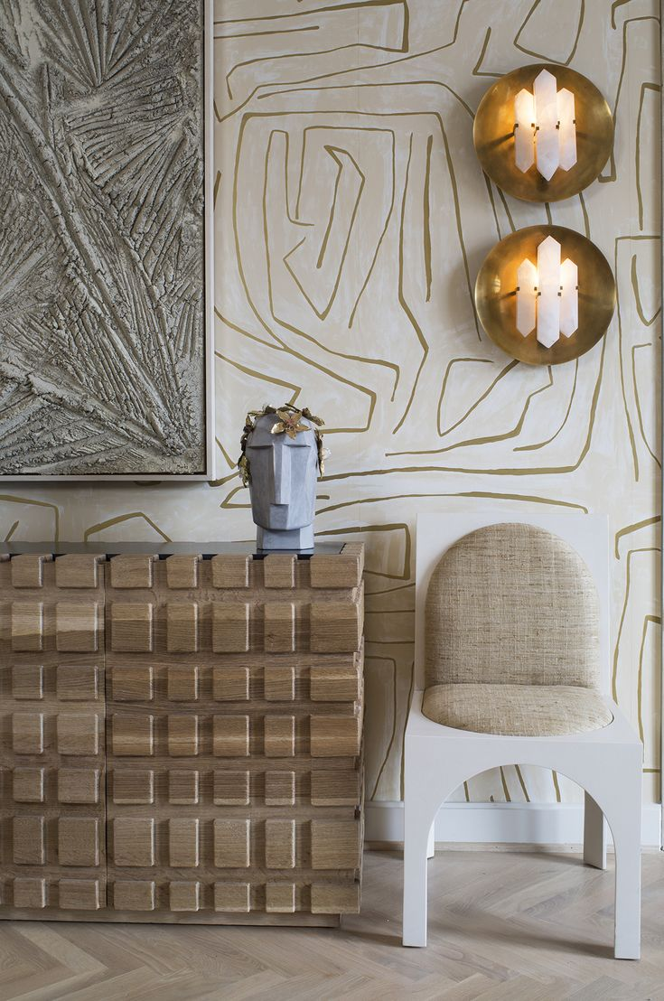KELLY WEARSTLER | GRAFFITO METALLIC WALLPAPER. In Ivory/Gold