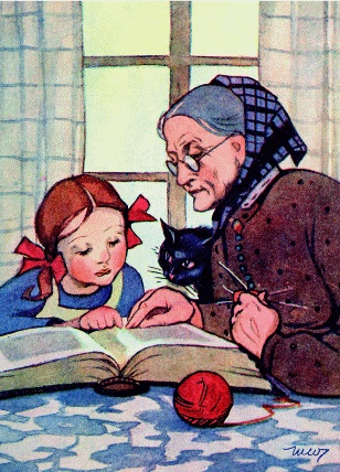 Martta Wendelin (grandmother, cat and granddaughter, reading)