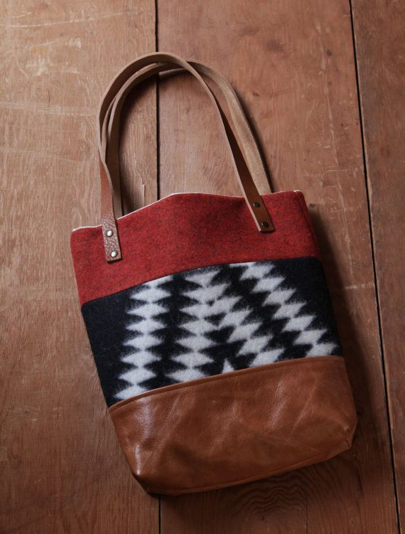 wool and leather tote bag //  three panels, could possibly put the FC logo on strap or on side