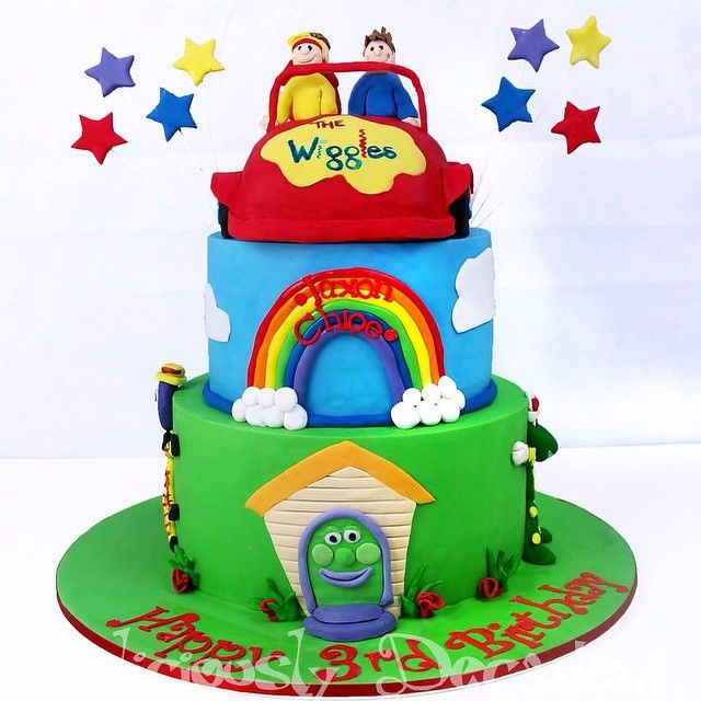 Wiggles  This is actually a three tier, the big red car is actually the top tier of cake not a topper!! #birthday #cake #birthdaycake #bigredcar #rainbow #wiggles #dorothythedinosaur #wagsthedog #henrytheoctopus #abc #abckids #deliciouslydecadent #deliciouslydecadentcakes #goldcoast #goldcoastcakes