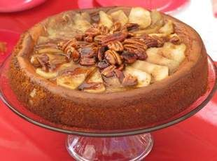 Apple Pecan Cheesecake - To save steps, mix the pecans with a can of apple pie filling. You'll only need to slice enough apples to decorate the top of the cheesecake. Fan them out along perimeter and fill center with whole or halved pecans, drizzled with butterscotch syrup.