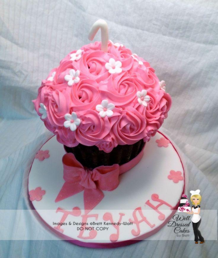 Pink Giant Cupcake Smash cake - This was for a smash cake photo shoot.