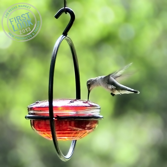 For the #birds at #LVMkt 7/29-8/2: a new metal/glass bird feeder from @Rebecca Fabry Company Inc includes a handcrafted red glass lid that attracts #hummingbirds during warmer months. Take off the lid, fill the container w/jelly & attract #bluebirds, #orioles & other #songbirds.