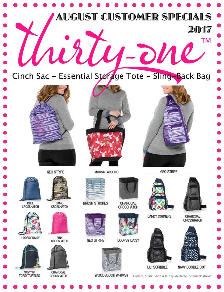 Thirty-One has great specials... Check them out at MyThirtyOne.com/Pia Davis or change to your current consultant in the upper right corner of MyThirtyOne.com #ThirtyOne