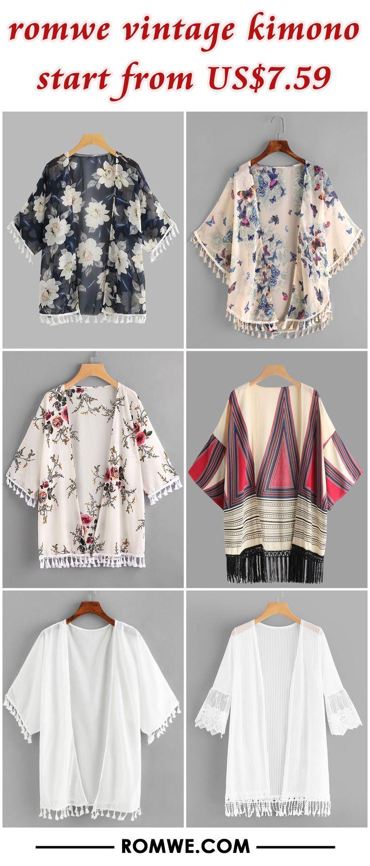 summer romwe vintage kimono