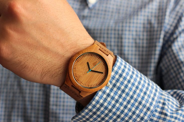 Amazon.com: Treehut Mens Wooden Bamboo Watch with Genuine Brown Leather Strap Quartz Analog with Quality Miyota Movement, 1.7 inches, Blue Second Hand: Tree Hut: Watches