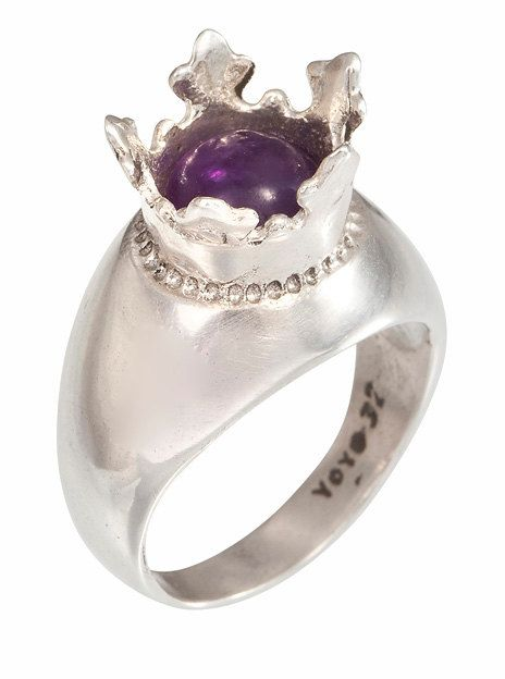 Silver Kabbalah Solitary Ring for Women with Purple Synthetic Stone Inside a Crown - Handmade per Order