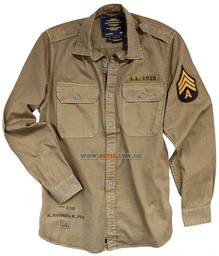 Сорочка Caliber Shirt Alpha Industries (хакі) Розміри: XS,S,M,L,XL,2XL,3XL,4XL (під замовлення)  Ціна: 72 $