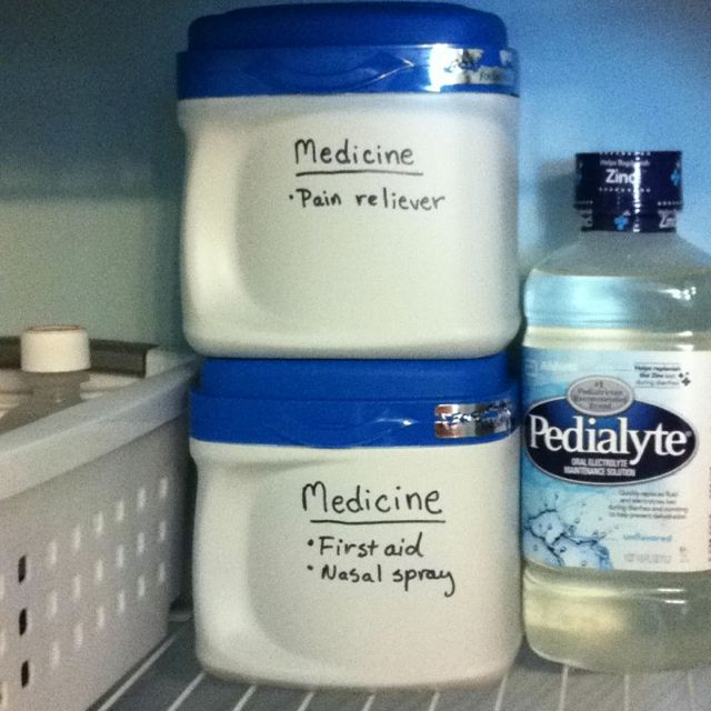 Reuse formula containers for medicine storage - you could also use for storing flour and coffee in the pantry.